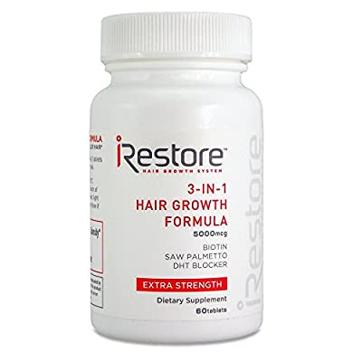 iRestore 3-in-1 Hair Growth Supplement with Biotin, DHT Blocker, Saw Palmetto, and Other Extracts