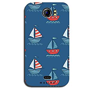 Mozine Boat Pattern Printed Mobile Back Cover For Micromax A110