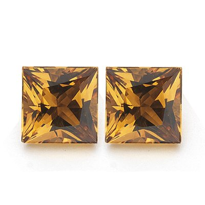 1.11 Cts of AAA 5 mm Princess Matching Loose Citrine ( 2 pcs set ) Gemstones