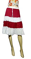 Anuze Fashions Red & White Colour Skirt For Women's And Girl's