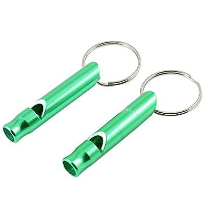 2pcs Green Pet Dog Yorkie Cylinder Shaped Training Whistle Keyring