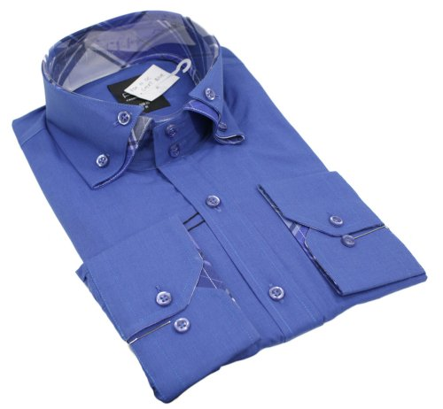 Mens Italian Design Blue Double Button Collar Shirt Very Slim Fit Smart or Casual