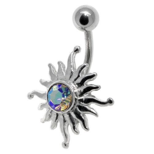 Tribal Sun AB Belly Button Navel Ring