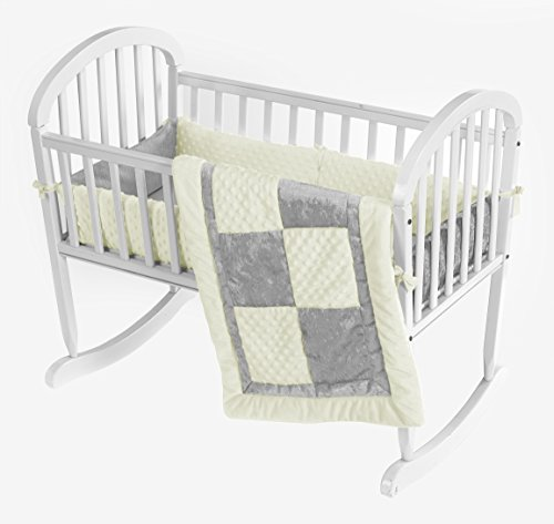 Baby Doll Croco Minky Cradle Bedding Set, Beige/Grey front-760633