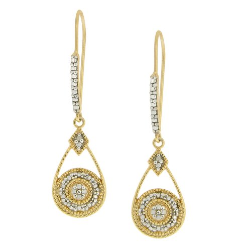 18k Yellow Gold Plated Sterling Silver Diamond Accent Round Drop Euro Wire Earrings