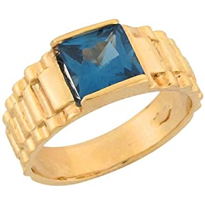 14k Gold Synthetic Blue Zircon Designer Inspired Band Ring