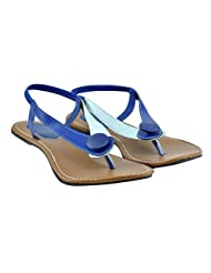 "Diovanni ""Blue Blaze, Navy Haze"" Dual Tone Buttoned Sandals - B00SFPN3ZG"