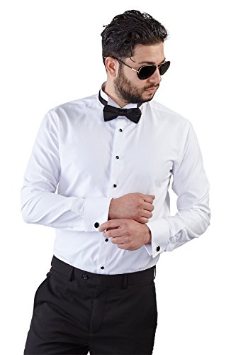 New Mens Tailored Slim Fit White Wing Tip Tuxedo Shirt French Cuff Wrinkle Free By Azar (Medium 15/15.5 )