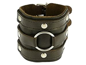 Neptune Giftware Leather Wide Triple Strap Cuff Wrap Gothic Wristband Buckle Fastening - Available In Black or Dark Brown - YOU CHOOSE - DARK BROWN LEATHER