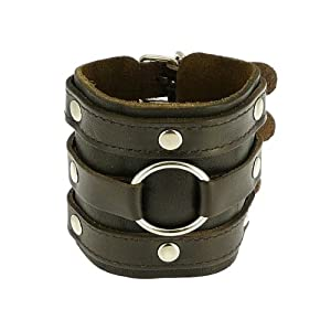 Neptune Giftware Dark Brown Leather Wide Triple Strap Cuff Wrap Gothic Wristband Buckle Fastening - 46