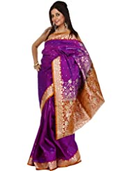 Exotic India Passion-Flower Purple Sari from Banaras with All-Over Wove - Purple