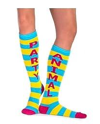 Party Animal Knee High Striped Tube Socks