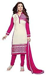 CreationBuddy Cream,Rani Embroidered Glaze Cotton Salwar Suit Dress Material Straight Party,Festive