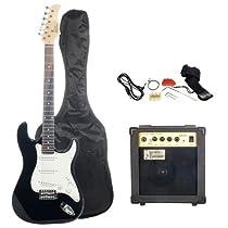 Austin Bazaar Black Electric Guitar Package with 10 Watt Amp - Beginner Kit