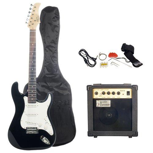 Barcelona Black Electric Guitar Package With 10 Watt Amp Beginner
