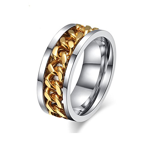 Men Gold Stainless Steel Spinner Chain Ring