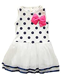 Kids Baby Girls Clothes Polka Dot Bow One-piece Dress Skirt Child Summer Dress by Angel's Wings