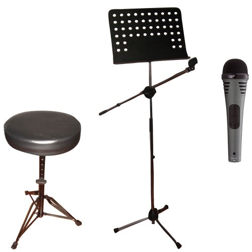 Pyle Mic, Stand And Stool Package - Pdmik2 - Professional Moving Coil Dynamic Handheld Microphone - Pmsm9 Heavy Duty Tripod Microphone And Music Note Stand - Pkst50 Double Braced Folding Padded Drum Throne - Keyboard Bench - Guitar Stool