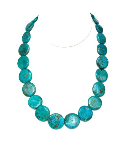 Necklace Graduated Turquoise Coin Shaped Disk