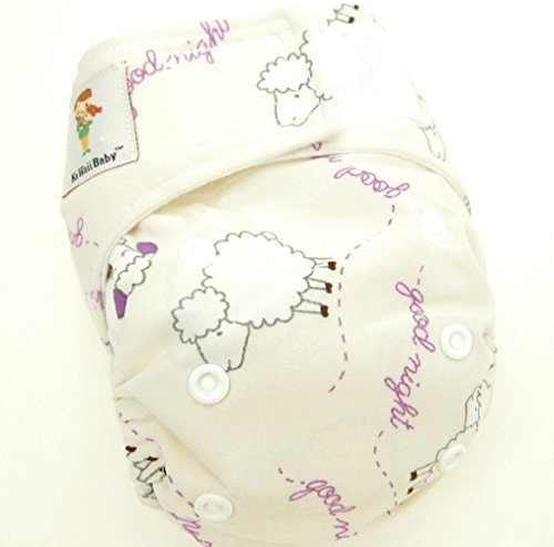 "Kawaii Baby Newborn Reusable Cloth Diaper Pure & Natural 6 - 22 Lb. With 2 Microfiber Inserts "" Sheep Baby """
