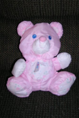 "Fisher Price Puffalumps 9"" Puffalump Pink Bear with Rattle Inside From 1994 - 1"