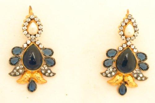 Fashion Balika Fashion Jewelry Gold-Plated Dangle & Drop Earring For Women Blue-BFJER047 (Yellow)