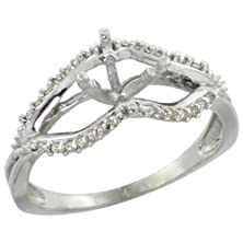 buy 14K White Gold Semi Mount Ring (For 6Mm 1 Ct Size) 0.13Ct Diamond Accents, 5/16 Inch Wide, Size 5