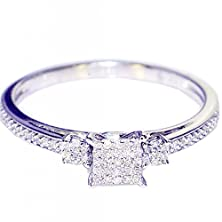 buy 0.15Cttw Diamond Engagement Ring Promise Ring Square Shaped Pave Set (I/J Color 0.15Cttw)