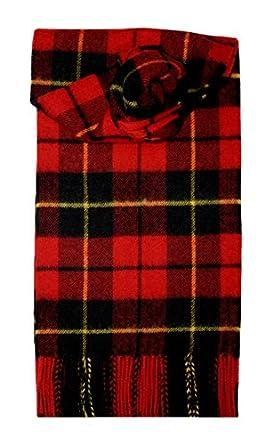 Wallace Modern Red Brushed Wool Tartan Scarf