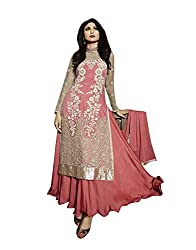 Stylish Fashion Shilpa Shetty Beautiful Peach Full Neck Embroiderd Sarara Style long Suit