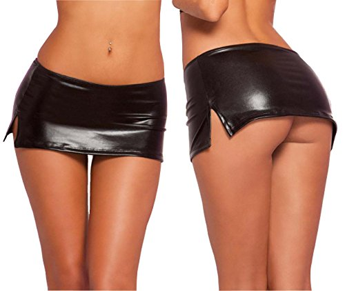 CEG Show Women's PVC Leather Wet Look Mini Skirt Clubbing Dance Teddy with Elastic (XXL) (Pvc Wet Look Lingerie compare prices)