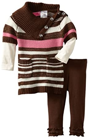 Young Hearts Baby-Girls Infant 2 Piece Striped Cable Legging Set, Light Beige, 12 Months
