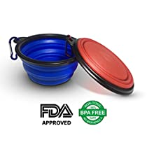 Collapsible Dog Cat Portable Travel Bowl 2 pack, Silicone BPA Free FDA Approved, Foldable Expandable Cup Dish Pet Supplies for Food Water Feeding Free Carabiner
