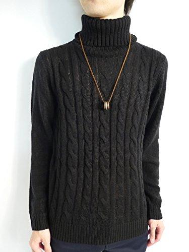 (モノマート) MONO-MART 8色 ケーブル編み ニット セーター タートルネック ざっくり メンズ 暖かい Mサイズ ブラック