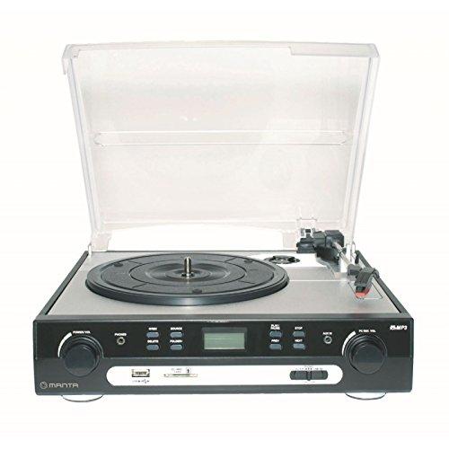 Manta MA408 - Giradischi con riproduttore cassette, USB, lettore schede SD, Mp3, colore: nero
