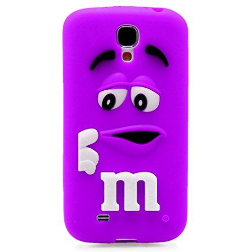 3D morbida in Silicone M M'& M Candy MM, colore: cioccolato, Silicone, viola, Samsung Galaxy S4 i9500 i9505
