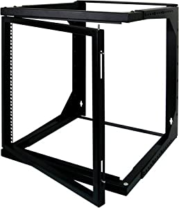 8U Open Wall Mount Frame Rack with Hinge