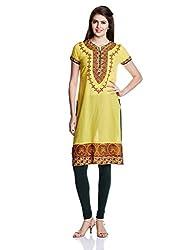 Juniper Women's Straight Kurta (30741_Yellow_Small)