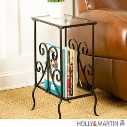 "Kilpatrick Metal Magazine Table (Black) (24""H x 16""W x 9.5""D)"