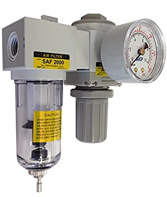"PneumaticPlus SAU2020M-N02G Compressed Air Filter Regulator Modular Combo 1/4"" NPT - Manual Drain, Poly Bowl, 10 Micron with Gauge"