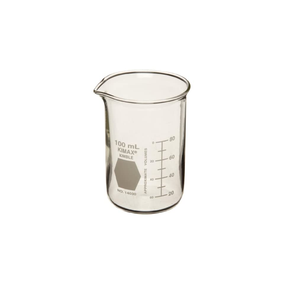 600mL Capacity Case of 24 Kimble Chase KIMAX 14030-600 Borosilicate Glass Tall Form Berzelius Beaker with Spout