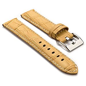 StrapsCo Premium Beige Croc Embossed Leather Watch Strap size 30mm