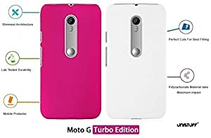 For Motorola Moto G Turbo[COMBO OFFER]: Unistuff™ Matte Finish Hard Case Back Cover for Motorola Moto G Turbo [SLIM FIT][FREE SHIPPING] (Pink, White)