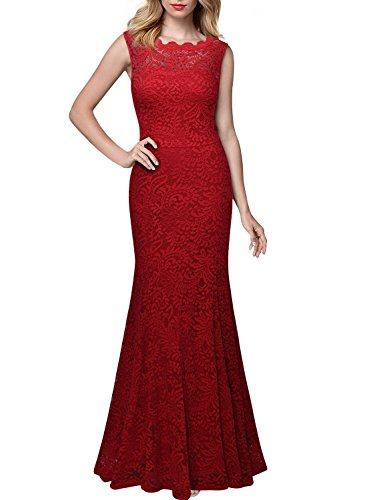 Miusol Women's 1920'S Retro Floral Lace Sleeveless Halter Bridesmaid Long Dress (Small, Red)