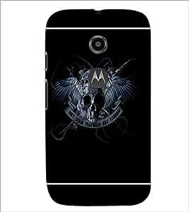 PrintDhaba Skull D-1384 Back Case Cover for MOTOROLA MOTO E2 (Multi-Coloured)