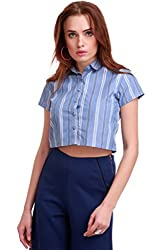 Blue Stripes Crop Shirt