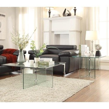 Homelegance Alouette 2 Piece Square Glass Coffee Table Set