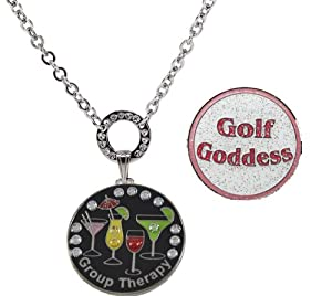 Buy Navika Magnetic Necklace with Swarovski Crystal Group Therapy and Glitzy Golf Goddess Ball Markers by Navika USA Inc.