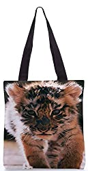 Snoogg Baby Tiger Poly Canvas Tote Bag