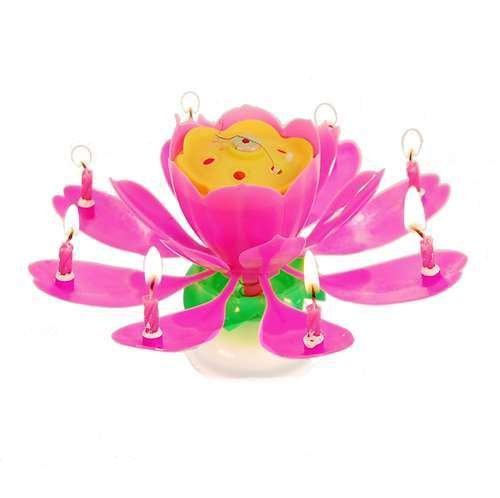 niceEshop(TM) Amazing Rotary Happy Birthday Music Candle Novelty Blooming Lotus Flower Party Lighting Decoration